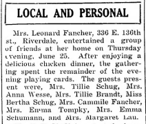 """Mrs. Leonard Fancher Entertains Friends,"" news article, The Pointer (Riverdale, Illinois), 3 July 1936, p. 1, col. 4."