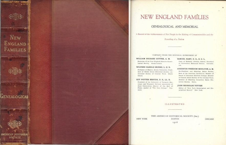 New England Families, Genealogical and Memorial, begins with Henry L. Dawes, 425 pages, 1916