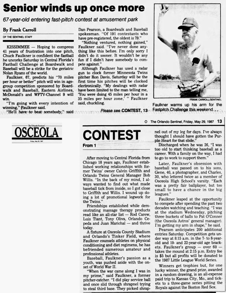 """""""Senior Winds Up Once More,"""" news article, The Orlando Sentinel (Orlando, Florida), Osceola Section, 29 May 1987, p. 1, col. 2."""