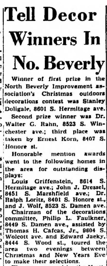 """""""Tell Decor Winners in No. Beverly, Philip L. Faulkner, Chairman of Decorations Committee,"""" news article, Southeast Economist (Chicago, Illinois), South Suburban Edition, 6 Jan 1957, p. 11, col. 3."""