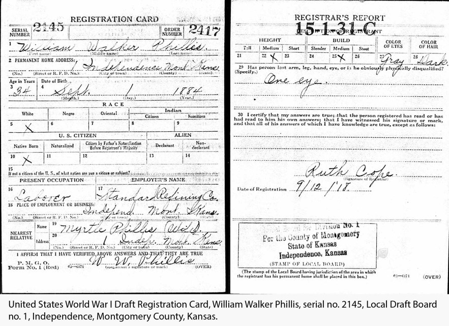 United States World War I Draft Registration Card, William Walker Phillis, serial no. 2145, Local Draft Board no. 1, Independence, Montgomery County, Kansas.