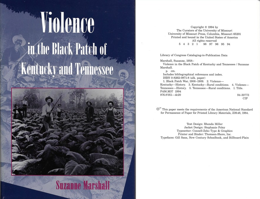 Violence in the Black Patch of Kentucky and Tennessee, Suzanne Marshall, 1994.