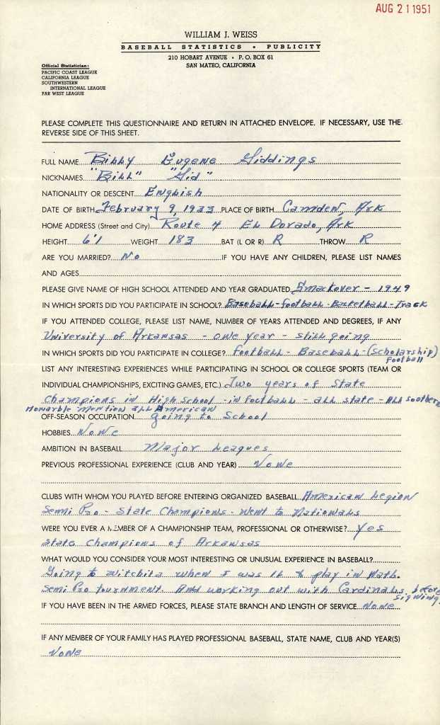 William J. Weiss, Baseball Statistics-Publicity, San Mateo, California, questionnaire, Billy Eugene Giddings, 21 Aug 1951.