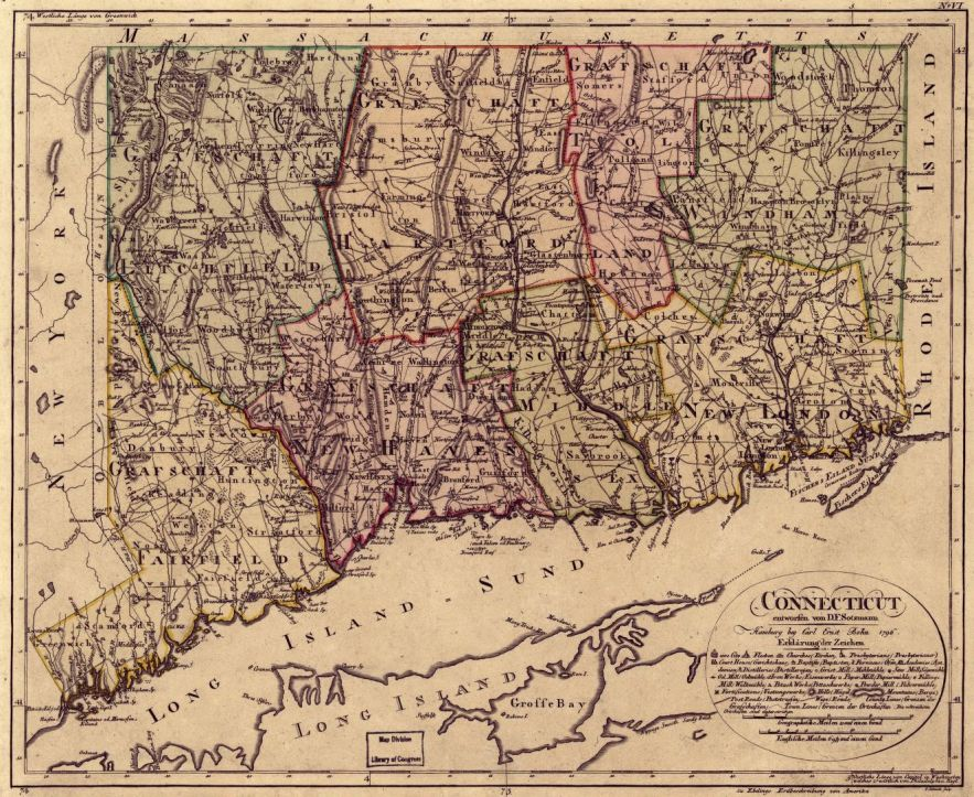 1796 Connecticut map, Library of Congress, Geography and Map Division