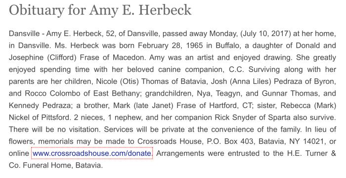 """Amy E. Herbeck,"" obituary, H. E. Turner and Company website (Batavia, New York), 10 July 2017."