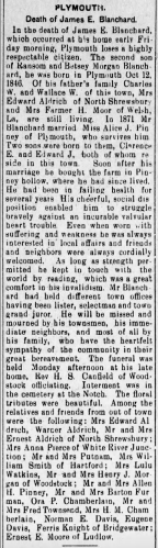 """""""Death of James E. Blanchard, Plymouth,"""" obituary, The Vermont Tribune (Ludlow, Vermont), 8 Feb 1912, p. 3, col. 4."""