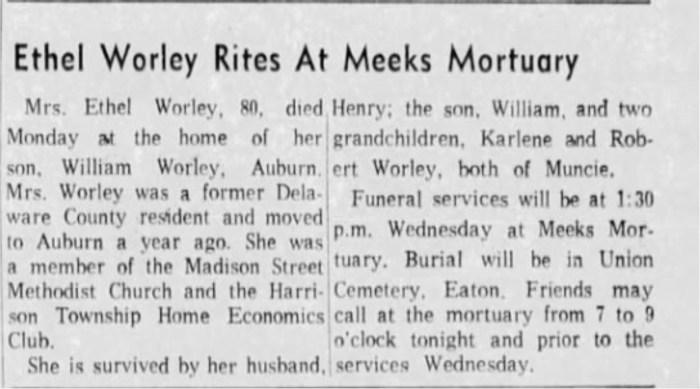"""Ethel Worley Rites at Meeks Mortuary,"" obituary, Muncie Evening Press (Muncie, Indiana), 19 Jan 1965, p. 13, col. 7."