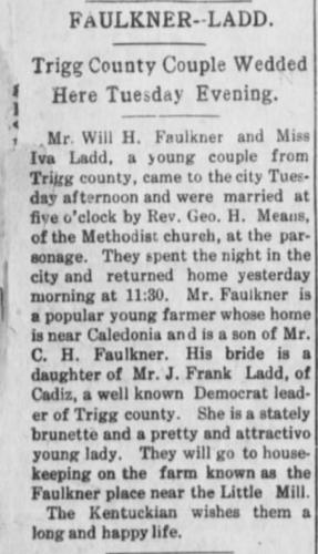 """""""Faulkner-Ladd,"""" marriage announcement, Hopkinsville Kentuckian (Hopkinsville, Kentucky), 27 Jan 1910, p. 8 col. 1."""