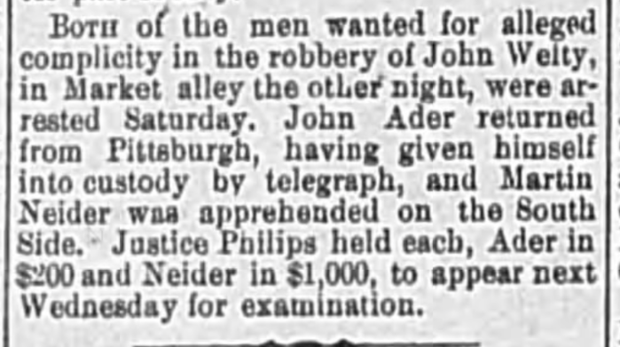 """John Ader and Martin Neider Surrender,"" news article, The Wheeling Daily Intelligencer (Wheeling, West Virginia), 26 Apr 1880, p. 4, col. 3."
