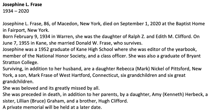 """Josephine L. Frase,"" obituary, The Daily Press (St. Marys, Pennsylvania), 18 Sept 2020."