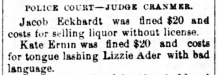 """""""Kate Ernin Fined for Using Abusive Language Toward Lizzie Ader,"""" news article, The Wheeling Daily Register (Wheeling, West Virginia), 18 June 1877, p. 4, col. 3."""