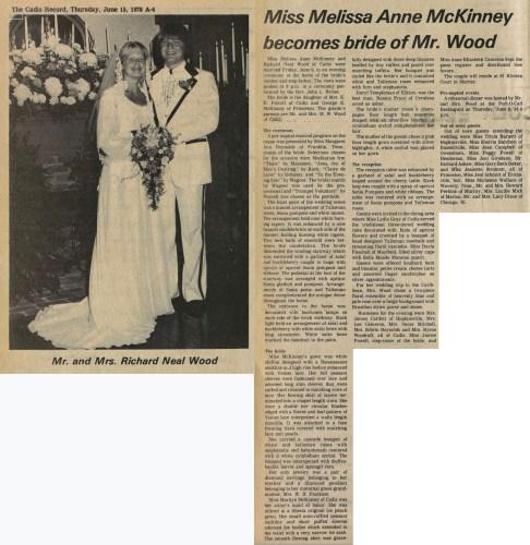 """Miss Melissa Anne McKinney Becomes Bride of Mr. Wood,"" marriage announcement, The Cadiz Record (Cadiz, Kentucky), 15 June 1978, p. A4, col. 1."