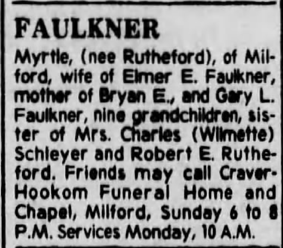 """Myrtle Faulkner,"" obituary, The Cincinnati Enquirer (Cincinnati, Ohio), 6 Aug 1978, p. 33, col. 3."