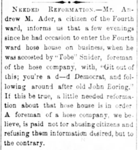 """""""Needed Reformation, Mr. Andrew M. Ader Accosted,"""" news article, The Wheeling Daily Register (Wheeling, West Virginia), 30 Oct 1876, p. 4, col. 5."""