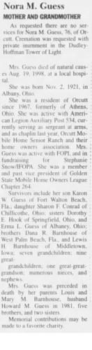 """Nora M. Guess,"" obituary, Santa Maria Times (Santa Maria, California), 21 Aug 1998, p. 3, col. 5."