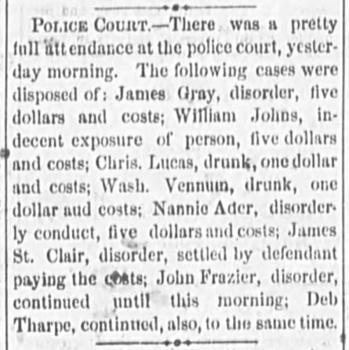 """Police Court, Nannie Ader Fined for Disorderly Conduct,"" news article, The Wheeling Daily Intelligencer (Wheeling, West Virginia), 17 Oct 1871, p. 4, col. 3."