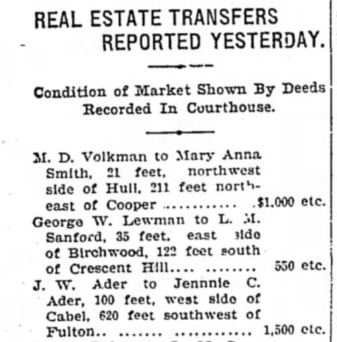 """""""Real Estate Transfers, J. W. Ader to Jennie C. Ader"""" newspaper notice, The Courier (Louisville, Kentucky), 29 Jul 1907, sect. 4, p. 6, col. 1."""