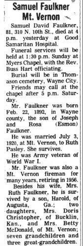 """Samuel Faulkner Mt. Vernon,"" obituary, Mt. Vernon Register-News (Mt Vernon, Illinois), 24 Aug 1973, p. 2, col. 1."