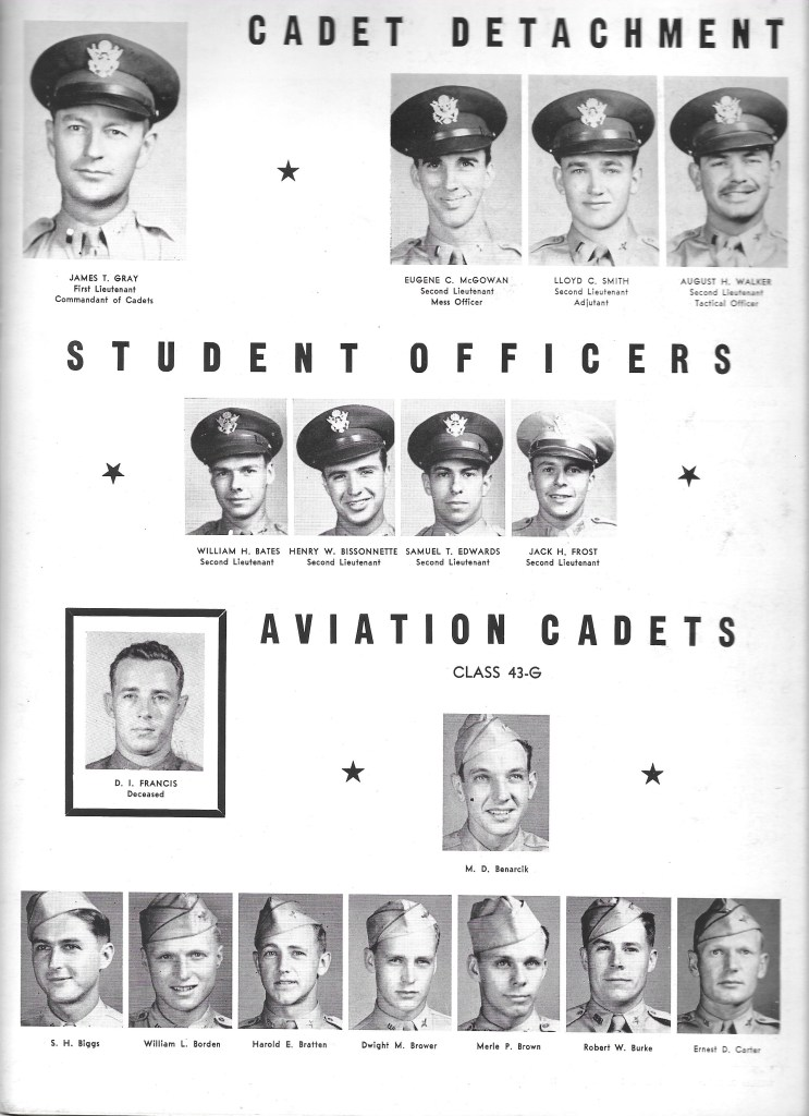 Independence Army Flying School 1943, CADET DETACHMENT, STUDENT OFFICERS, and AVIATION CADETS, Class 43-G