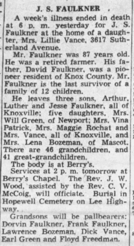"""""""J. S. Faulkner,"""" obituary, The Knoxville News-Sentinel (Knoxville, Tennessee), 30 Jan 1940, p. 12, col. 3."""