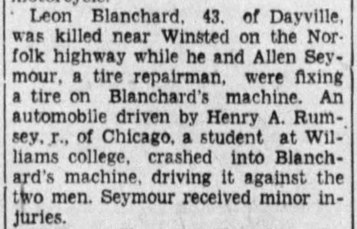 """""""Leon Blanchard Killed Near Winsted,"""" news article, The Journal (Meriden, Connecticut), 9 June 1930, p. 1, col. 2."""