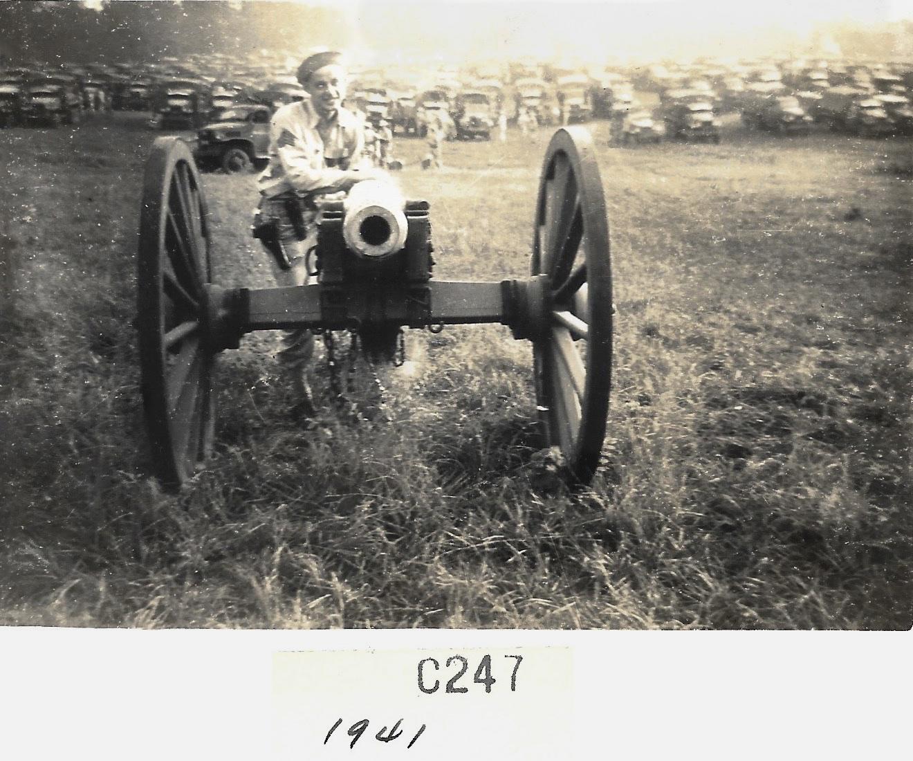 1941 Ernie Faulkner with Civil War Cannon at Shiloh National Par