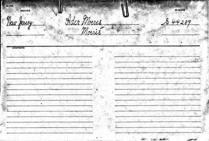 Morris Ader file, cover, Revolutionary War Pension and Bounty-Land Warrant Application Files