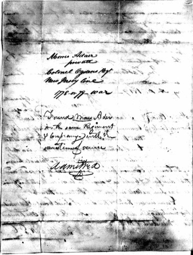 Morris Ader file, p. 2, Revolutionary War Pension and Bounty-Land Warrant Application Files