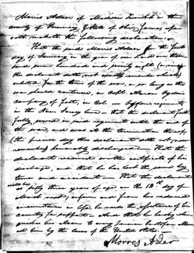 Morris Ader file, p. 3, Revolutionary War Pension and Bounty-Land Warrant Application Files