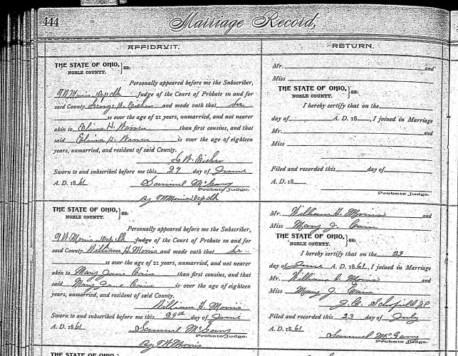 Noble County, Ohio, Probate Court, Marriage Record, vol. 1-2, p. 444, William A. Morris–Mary Jane Cain, 29 June 1861.