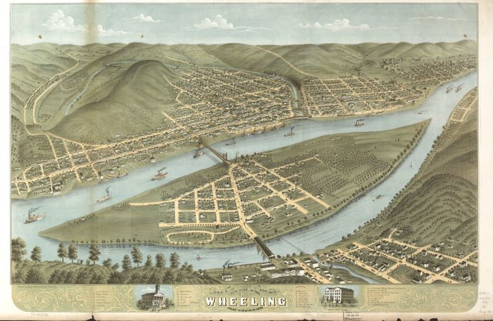 Wheeling, Ohio County, West Virginia, 1870, Library of Congress, Geography and Map Division