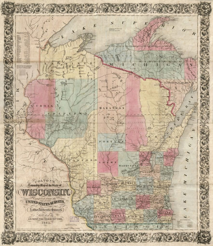 Wisconsin map 1851, Library of Congress, Geography and Map Division