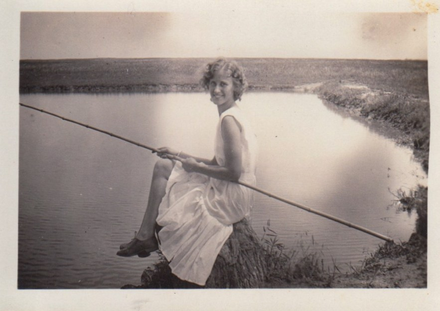 Eleanor Phillis fishing ca. 1930s