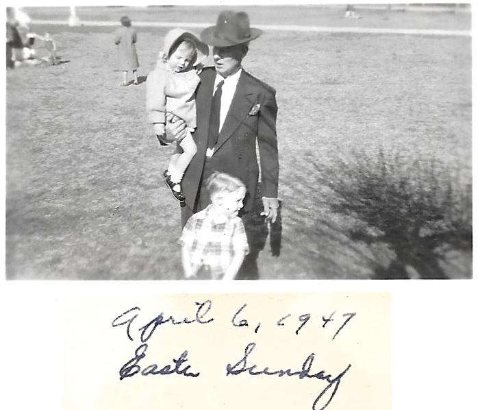 W. W. Phillis with grandchildren, Bob and Karen Faulkner, 6 Apr 1947