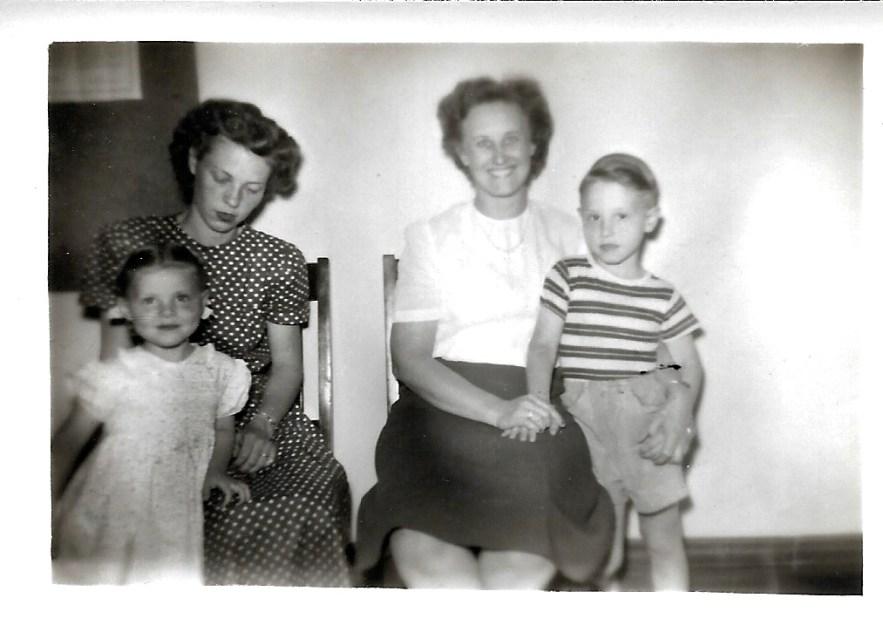 Karen and Evelyn Faulkner, Eleanor Baird, Bob Faulkner, ca. 1950