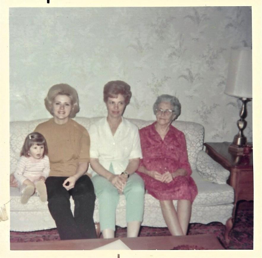 Four generations: Karianne Ogee, Karen Faulkner Ogee, Evelyn Phillis Faulkner, Myrtle Hooper Phillis, ca. 1969.