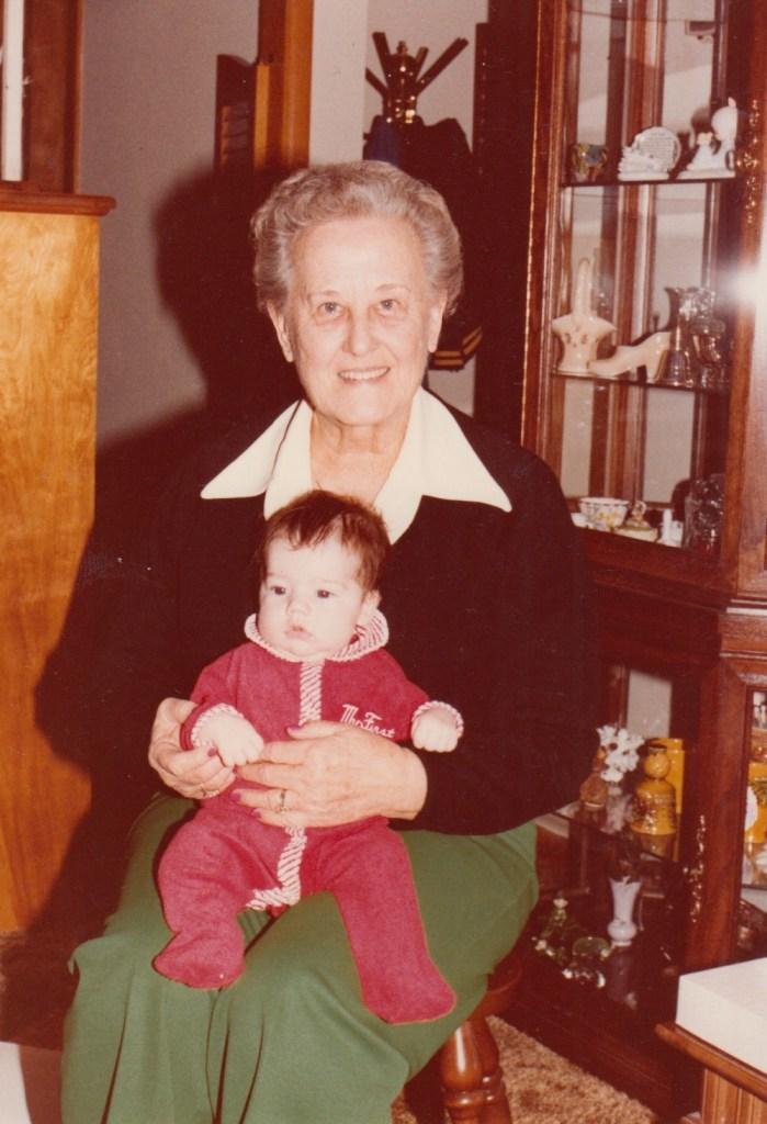 Eleanor Baird holding grand nephew, Ryan Hull, 1983