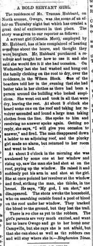 """A Bold Servant Girl,"" news article, Montrose Democrat (Montrose, Pennsylvania), 13 June 1877, p. 4, col. 2."