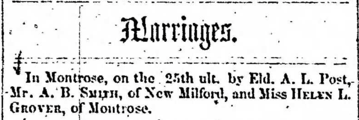 """""""A. B. Smith and Helen L. Grover,"""" marriage announcement, Montrose Independent Republican (Montrose, Pennsylvania), 5 Feb 1857, p. 3, col. 2."""