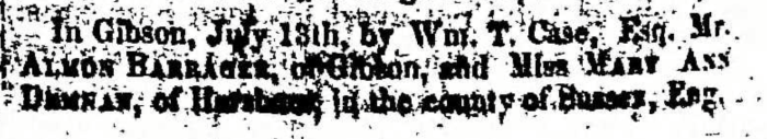 """Almon Barrager and Mary Ann Denman,"" marriage announcement, Montrose Independent Republican (Montrose, Pennsylvania), 23 July 1857, p. 2, col. 7."