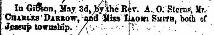 """Charles Darrow and Laomi Smith,"" marriage announcement, Montrose Independent Republican (Montrose, Pennsylvania), 14 May 1857, p. 2, col. 7"