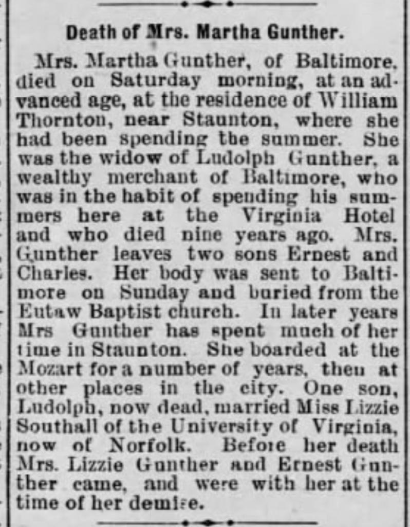 """Death of Mrs. Martha Gunther, obituary, Staunton Spectator and Vindicator (Staunton, Virginia), 29 Sept 1898, p. 3, col. 5."