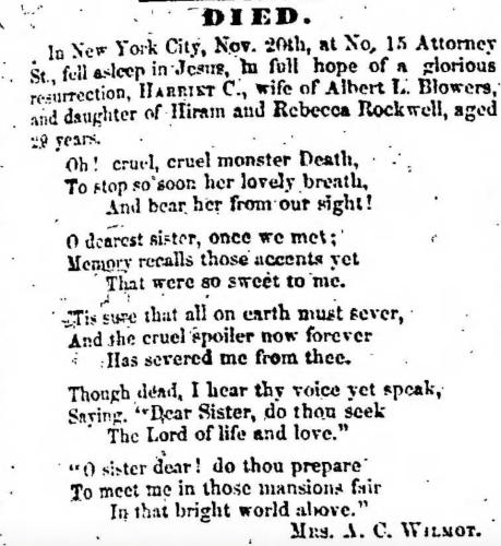 """Harriet C. Rockwell Blowers,"" death notice, Montrose Independent Republican (Montrose, Pennsylvania), 3 Dec 1857, p. 3, col. 1."