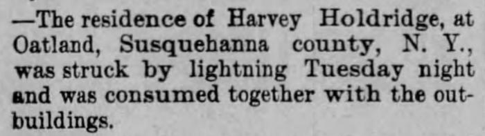 """Harvey Holdridge Residence Struck by Lightning,"" news article, Burlington Clipper (Burlington, Vermont), 18 Aug 1892, p. 6, col. 1."