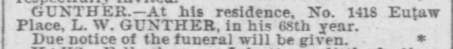 """""""L. W. Gunther, death notice, The Baltimore Sun (Baltimore, Maryland), 11 July 1889, p. 2, col. 2."""