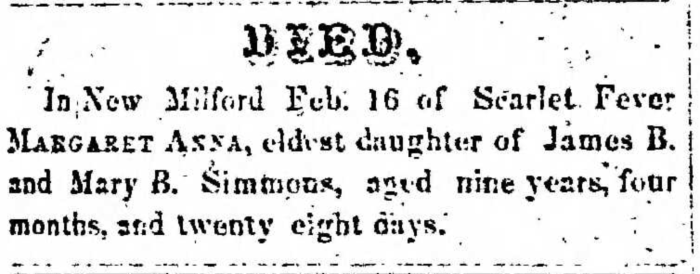 """Margaret Anna Simmons,"" obituary, Montrose Democrat (Montrose, Pennsylvania), 26 Feb 1857, p. 3, col. 1."