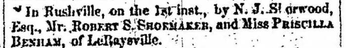 """Marriages, Robert S. Shoemaker and Priscilla Benham,"" marriage announcement, Montrose Independent Republican (Montrose, Pennsylvania), 15 Jan 1857, p. 3, col. 2."