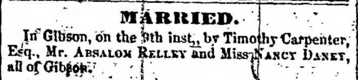 """Married, Absalom Relley and Nancy Daney,"" marriage announcement, Montrose Independent Republican (Montrose, Pennsylvania), 21 Jan 1858, p. 3, col. 5."