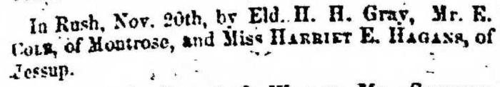 """Married, E. Gold and Harriet E. Hagans,"" marriage announcement, Montrose Independent Republican (Montrose, Pennsylvania), 3 Dec 1857, p. 3, col. 1."