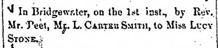 """""""Married, L. Carter Smith and Lucy Stone,"""" marriage announcement, Montrose Democrat (Montrose, Pennsylvania), 9 Jan 1857, p. 2, col. 6."""